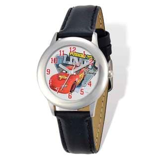 Disney Cars Lightning McQueen Black Leather Tween Watch