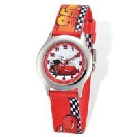 Disney Cars Lightning Printed Fabric Time Teacher Watch
