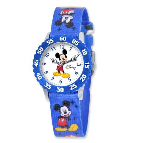 Disney Kids Mickey Mouse Blue Printed Fabric Time Teacher Watch