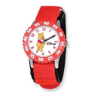 Disney Pooh & Friends Winnie Red Hook and Loop Band Time Teacher Watch
