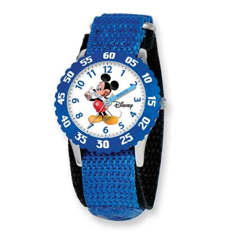Disney Kids Mickey Mouse Blue Hook and Loop Band Time Teacher Watch