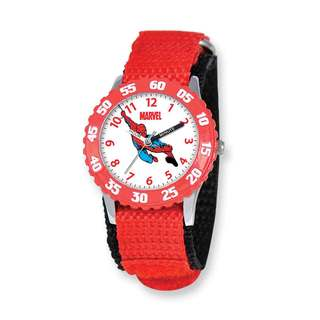 Marvel Spiderman Kids Red Hook and Loop Band Time Teacher Watch