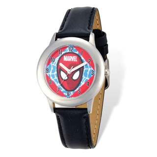Marvel Spiderman Face Black Leather Tween Watch