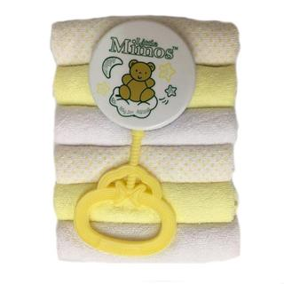 Little Mimos Cotton 7-inch x 7-inch 6-piece Washcloth Set with Rattle