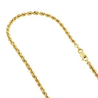 LUXURMAN 10k Yellow Gold 2.7mm Wide Hollow Rope Chain Necklace with Lobster Clasp