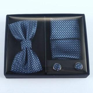 Brio 3 Piece Navy Grey/Light Blue Bowtie, Pocket Square and Cuff link Set