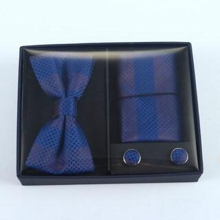 Brio 3 Piece Navy Stripe Bowtie, Pocket Square and Cuff link Set