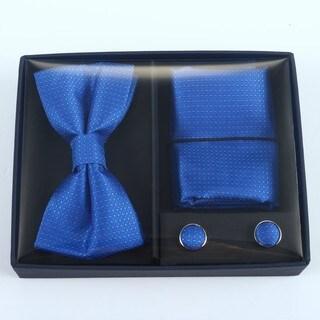 Brio 3 Piece Blue Bowtie, Pocket Square and Cuff link Set