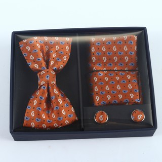 Brio 3 Piece Burnt Orange Bowtie, Pocket Square and Cuff link Set