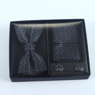Brio 3 Piece Black Bowtie, Pocket Square and Cuff link Set