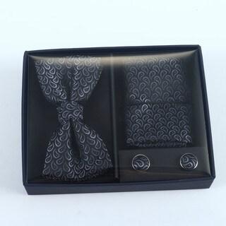 Brio 3 Piece Black Bowtie, Pocket Square and Cuff link Set