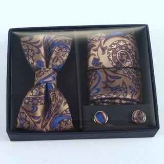 Brio 3 Piece Brwon/Blue Paisley Bowtie, Pocket Square and Cuff link Set