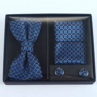Brio 3 Piece Navy/Blue Bowtie, Pocket Square and Cuff link Set