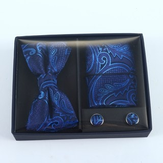 Brio 3 Piece Navy/Light Blue Paisley Bowtie, Pocket Square and Cuff link Set