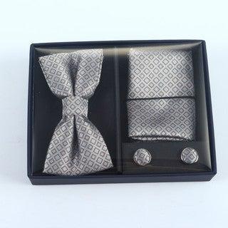 Brio 3 Piece Grey/Brown Bowtie, Pocket Square and Cuff link Set