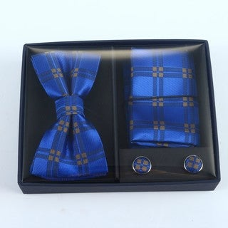 Brio 3 Piece Blue/Gold Bowtie, Pocket Square and Cuff link Set