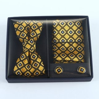 Brio 3 Piece Brown/Yellow Bowtie, Pocket Square and Cuff link Set