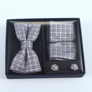 Brio 3 Piece Pink/Grey Bowtie, Pocket Square and Cuff link Set