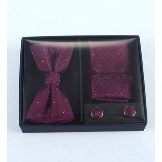 Brio 3 Piece Burgundy/Red Bowtie, Pocket Square and Cuff link Set