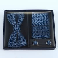 Brio 3 Piece Navy/Light Blue Bowtie, Pocket Square and Cuff link Set