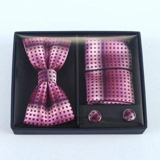Brio 3 Piece Dark Pink/Light Pink Bowtie, Pocket Square and Cuff link Set