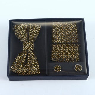 Brio 3 Piece Black/Gold Bowtie, Pocket Square and Cuff link Set