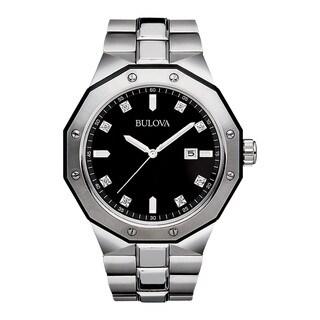 Bulova Men's Silvertone Stainless Steel Water-resistant Calendar Date Watch