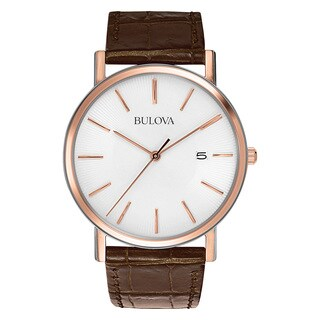 Bulova Men's 98H51 Brown Leather and Stainless Steel Water-resistant Calendar Date Watch