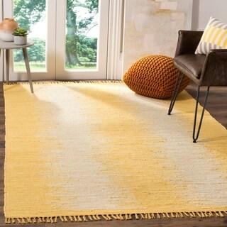 Safavieh Hand-Woven Montauk Flatweave Gold Cotton Rug - 4' x 6'