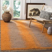 Safavieh Montauk Hand-Woven Flatweave Taupe/ Burnt Orange Cotton Rug - 4' x 6'