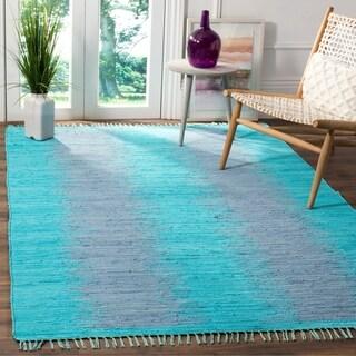 Safavieh Hand-Woven Montauk Flatweave Turquoise Cotton Rug (5' x 8')