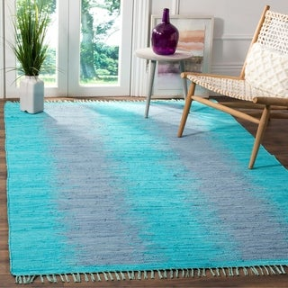 Safavieh Hand-Woven Montauk Flatweave Turquoise Cotton Rug (6' x 9')