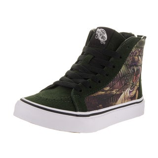 Vans Boys' Sk8-Hi Zip T-Rex Green Suede Skate Shoes