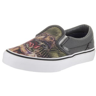 Vans Kid's (T-Rex) Grey Canvas Classic Slip-on Skate Shoes