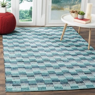 Safavieh Hand-Woven Montauk Flatweave Turquoise/ Multicolored Cotton Rug (9' x 12')