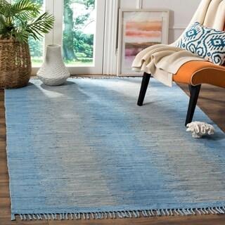 Safavieh Hand-Woven Montauk Flatweave Light Blue Cotton Rug (8' x 10')