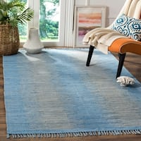 Safavieh Hand-Woven Montauk Flatweave Light Blue Cotton Rug - 8' x 10'