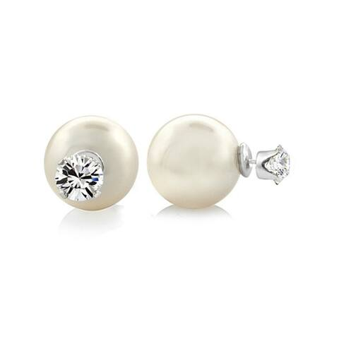 Pearlyta Sterling Silver Cubic Zirconia, and Shell Pearl Earrings (8mm) - White