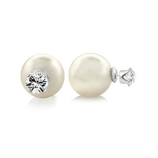 Pearlyta Sterling Silver Cubic Zirconia, and Shell Pearl Earrings (8mm)