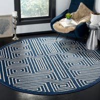 Safavieh Amherst Indoor/ Outdoor Navy/ Ivory Rug - 7' Round