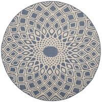 Safavieh Courtyard Optic Blue/ Beige Indoor/ Outdoor Rug - 6' 7 Round