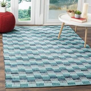 Safavieh Montauk Handmade Geometric Flatweave Turquoise/ Multi Cotton Rug (4' Square)