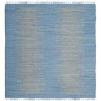 Safavieh Hand-Woven Montauk Flatweave Light Blue Cotton Rug - 6' Square