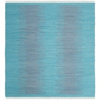 Safavieh Hand-Woven Montauk Flatweave Turquoise Cotton Rug - 6' Square