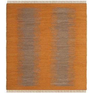 Safavieh Hand-Woven Montauk Flatweave Orange Cotton Rug (6' Square)