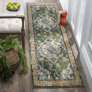 Safavieh Monaco Vintage Boho Medallion Forest Green/ Light Blue Runner - 2' 2 x 8'