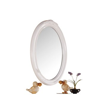 Acme Furniture Classique White Wood-framed Oval Beveled Mirror