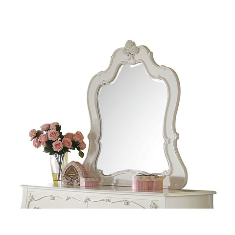 Acme Furniture Edalene Pearl White Pine Beveled Mirror