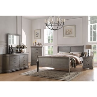 ACME Furniture Louis Philippe Bed, Antique Grey