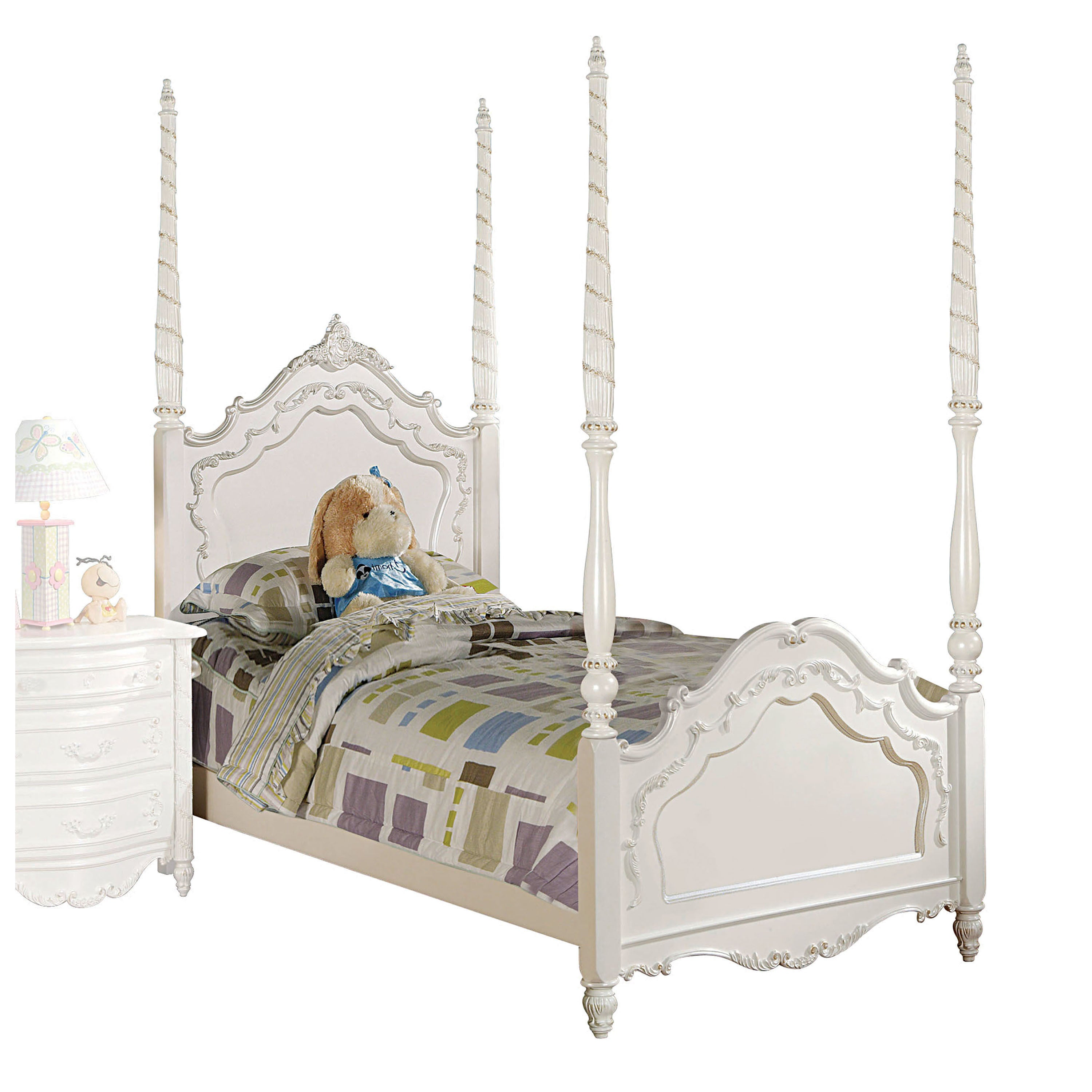 ACME Furniture Pearl Poster Bed, Pearl White and Gold Bru...